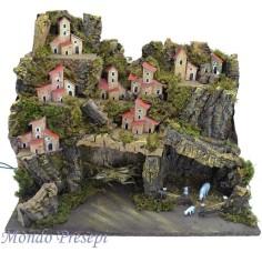 Mondo Presepi Paesaggio con grotte con case illuminate 45x30