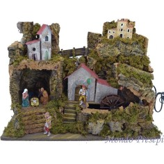 Nativity scene with water mill and lights, cm 50 x 26
