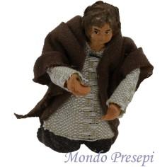 Mondo Presepi Bambino inginocchio snodato terracotta vestito
