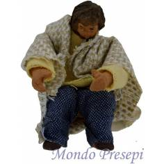 Bambino seduto cm 10 terracotta vestito snodato