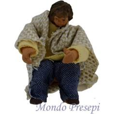 Mondo Presepi Bambino seduto terracotta vestito snodato