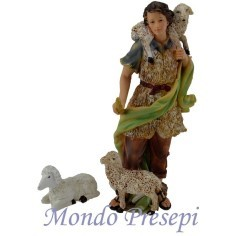 Pastor in resin with the sheep 30 cm