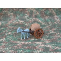 Small wagon with barrel - Donkey being towed - Cod. WS01B