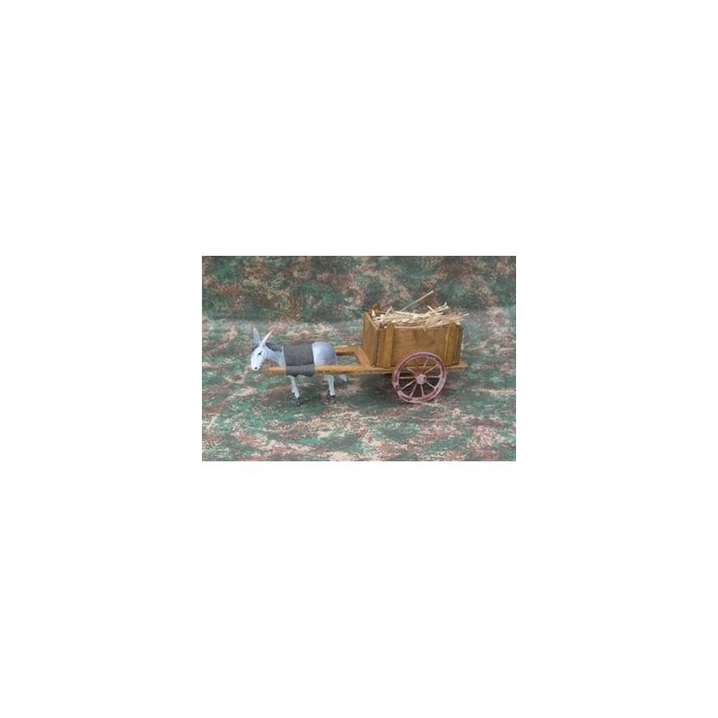 Mondo Presepi Carro in legno con asino al traino - Cod. FC3A