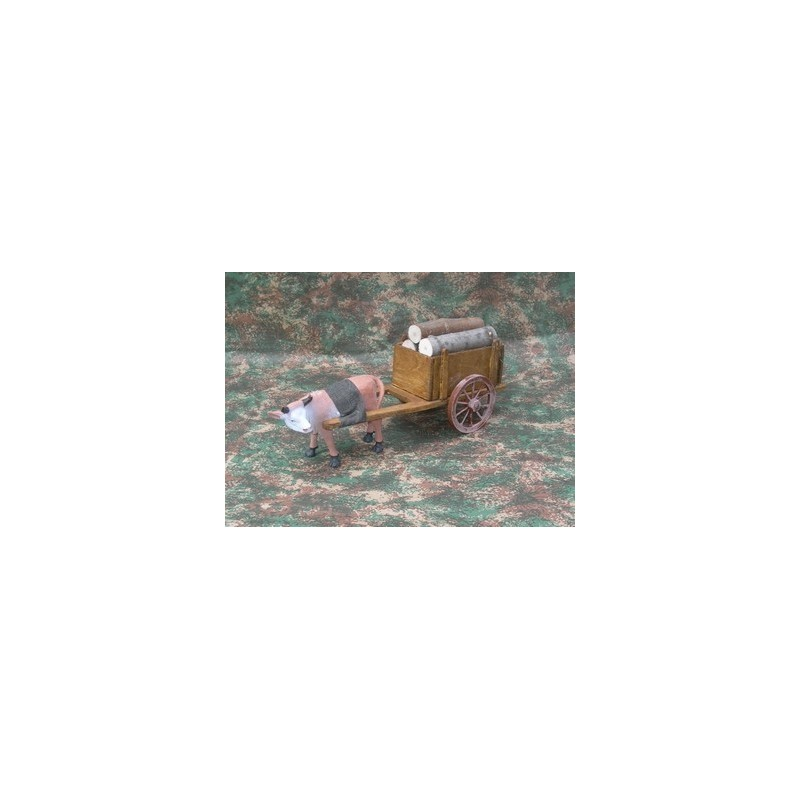 Mondo Presepi Carro in legno con bue al traino - Cod. FC4B