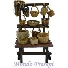 Bancarella con cesti per statue cm 10 - BCE41