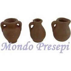 Set of 3 amphorae cm 3-2 in terracotta
