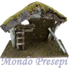 Mondo Presepi Capanna in legno e sughero con scala cm 37x16x23