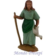 Mondo Presepi Cm 4,5 Donna con oca