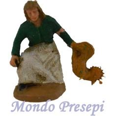 Mondo Presepi Cm 4,5 Contadina con gallina