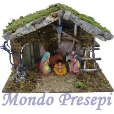 Hut with nativity cm 14 and lantern