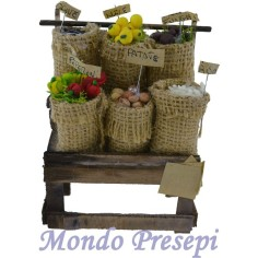 Banco con sacchi di verdura cm 10