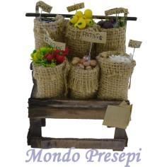 Mondo Presepi Banco con sacchi di verdura cm 10