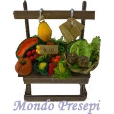 Mondo Presepi Banco frutta e verdura lux cm 10
