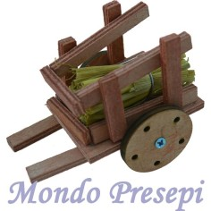 Cart in wood with straw 10 cm.