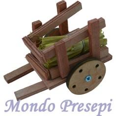 Carretto in legno con paglia cm 10
