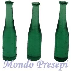 Set 3 bottiglie cm 4 verdi