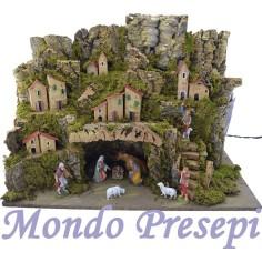 Nativity scene with statues Landi lit cave cm 60x34X42