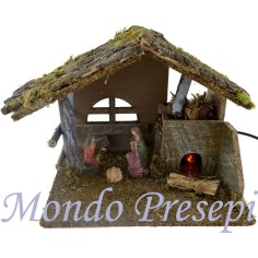 Hut with nativity cm 10 and fire cm 25X22X20