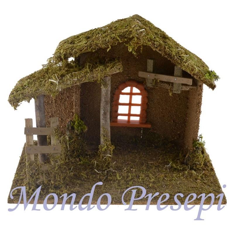 Mondo Presepi Capanna in legno con finestra cm 33x18x24