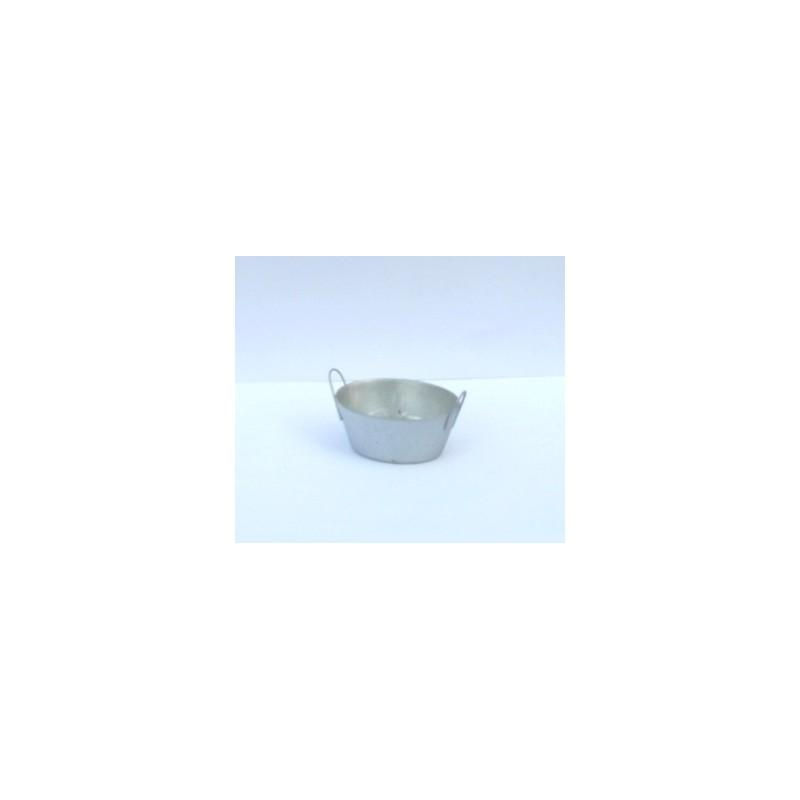 Mondo Presepi Tinozza ovale in metallo cm 4,5