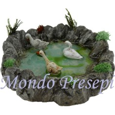 Magic resin pond with swans