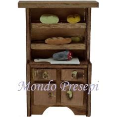 Credenza in legno con cibo cm 6x2,5x10 h. Mondo Presepi
