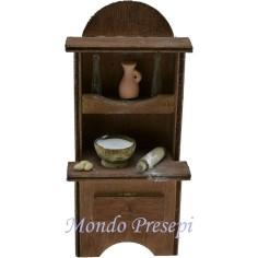 Credenza in legno con accessori cm 7x4x14 h. Mondo Presepi