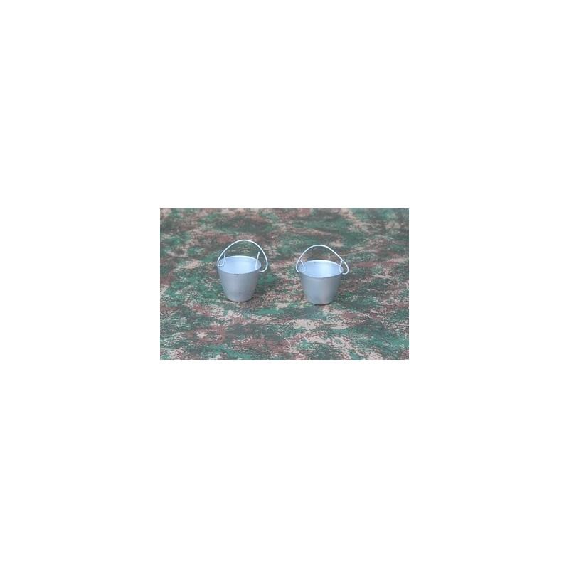 Set of 2 metal buckets 3 cm
