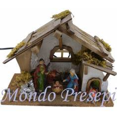 Cabin style hut with nativity and fire - Cod. CPNF120