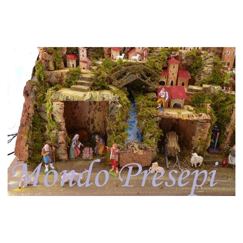 Mondo Presepi Presepe completo di statue landi con cascata e