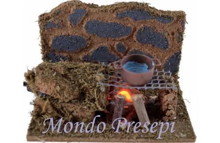 Mondo Presepi Fuoco presepe con griglia - funzionante a corrente