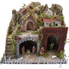 Nativity scene with a windmill and lights with statues Landi cm