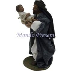 Mondo Presepi Cm 9 Lux Papà con bimbo in braccio