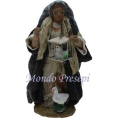 Mondo Presepi Cm 9 Donna con uccellino in gabbia -Statue in