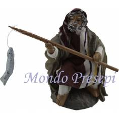 Mondo Presepi Cm 9 Uomo seduto che pesca