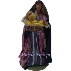 Mondo Presepi Donna con cesta di pane Lux cm 15