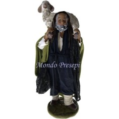 Mondo Presepi Uomo con pecora a spalle Lux cm 24
