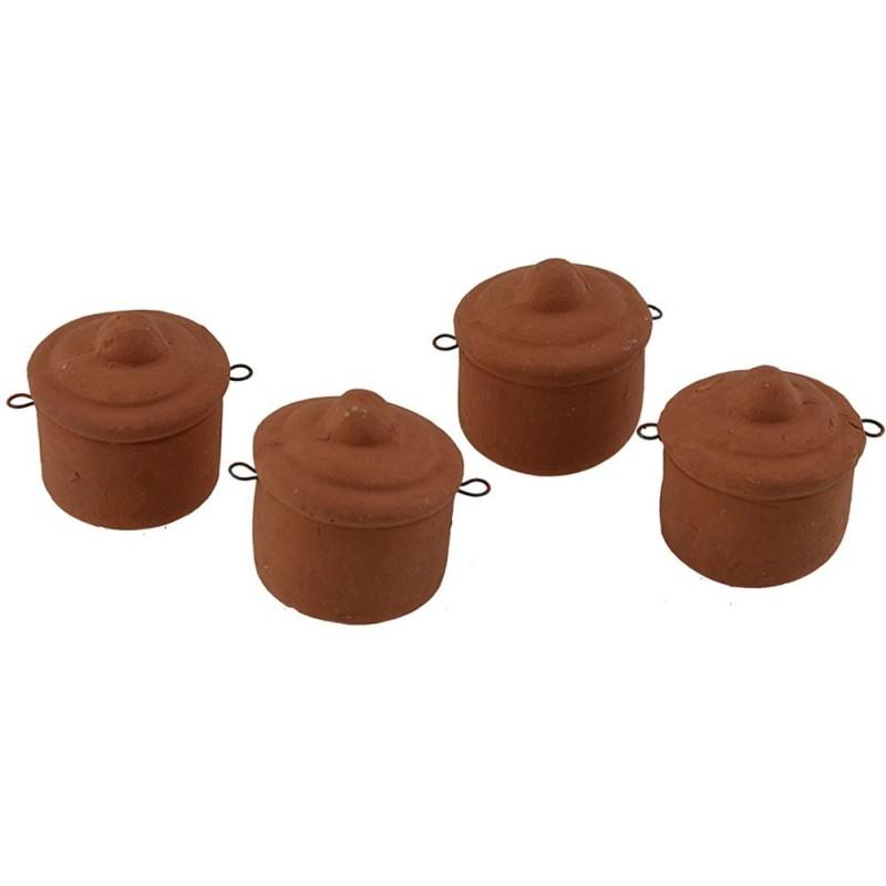 Set of 4 terracotta pots 2.5 cm