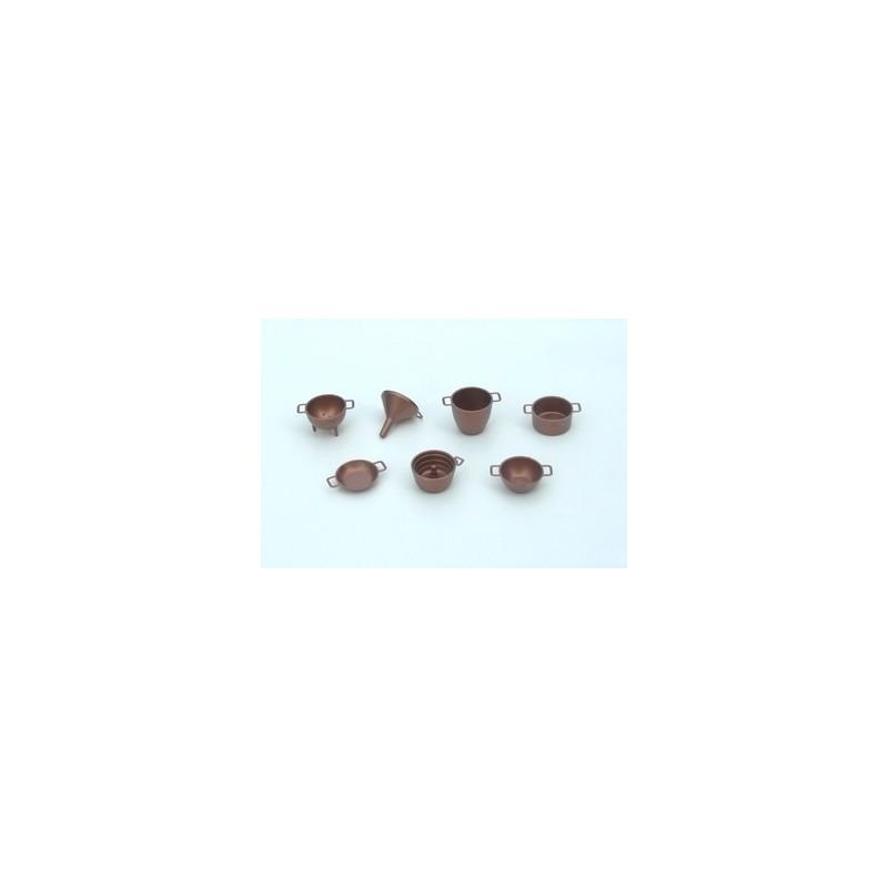 Set of 7 copper-colored plastic pans - Cod. K21