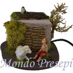 Mondo Presepi Bambino con agnello in movimento