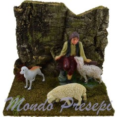 Ambientazione presepe pastore cane e pecore cm 14x12x12 h.