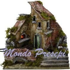 Mondo Presepi Casa con fuoco e fontana funzionanti cm 27x17x27