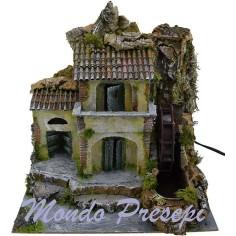 Mondo Presepi Casa con mulino ad acqua cm 27x22x24 h.