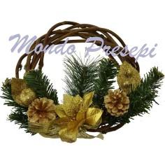 Mondo Presepi Corona in legno intrecciata Ø 25 con decori oro