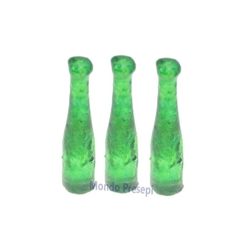 Set 3 bottiglie verdi h. 3,2 cm