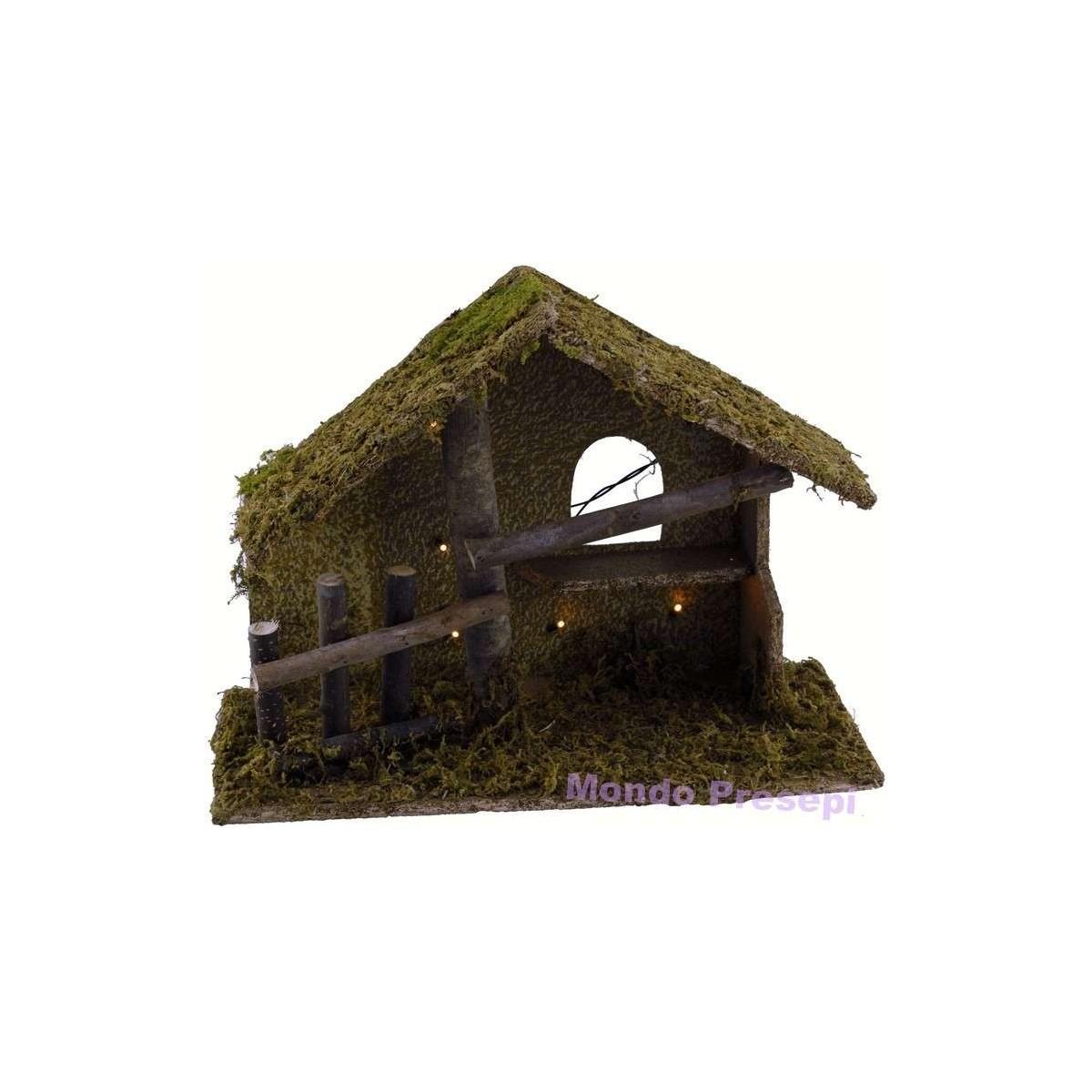 Capanna legno naturale presepe for Costruire una semplice capanna di legno