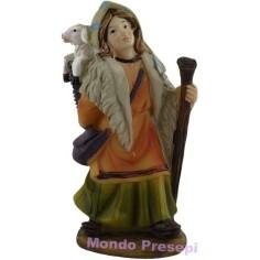 Mondo Presepi Donna con pecora in spalla cm 9
