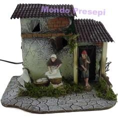 Mondo Presepi Casa con lavandaia e pifferaio in movimento Landi