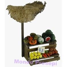 Mondo Presepi Banco frutta e verdura con ombrellone